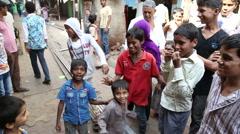 Indian boys on the street in Mumbai. Stock Footage