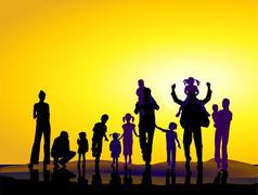 Families and sundown Stock Illustration