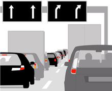 traffic jam with rows of cars - stock illustration
