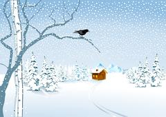 a cottage in the snow - stock illustration