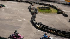 Few karts fast race top view Stock Footage