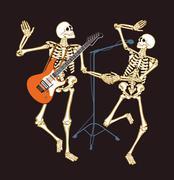 skeleton concert - stock illustration