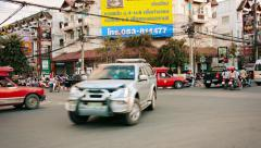 CHIANG MAI, THAILAND - CIRCA NOV 2013: Moderate, afternoon traffic  at a typi Stock Footage
