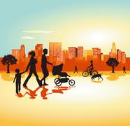 Family from town panorama - stock illustration