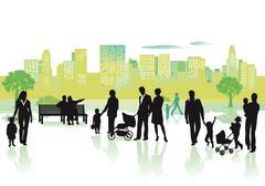 Panoramic city life - stock illustration
