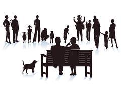 Parents, grandparents and children Stock Illustration