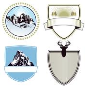 Mountain adventure and expedition badges Stock Illustration
