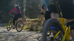 Mountain biking switchbacks climb Stock Footage