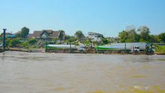 HUAY HAI, LAOS - CIRCA DEC 2013: Timelapse shot of barge and boat traffic alo Stock Footage
