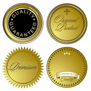 Gold Seal of Approval and emblems Stock Illustration