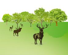 Deer on the green meadow - stock illustration