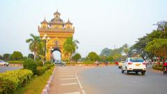 VIENTIANE, LAOS - CIRCA DEC 2013: The Patuxai Memorial Arch, a war memorial, Stock Footage