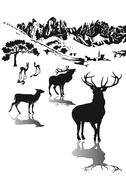 Wild in the highlands - stock illustration