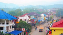 HUAY HAI, LAOS - CIRCA DEC 2013: Typical street in Huay Hai, Laos, from a hig Stock Footage