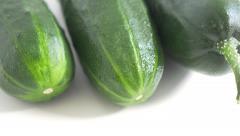 Cucumber 4K UHD 2160p footage panning on white background - Cucumber  fresh v Stock Footage