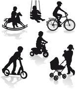 Children with playground equipment - stock illustration