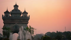 VIENTIANE, LAOS - CIRCA DEC 2013: Patuxai Arch, a war memorial with its signa Stock Footage