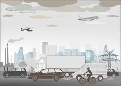 Traffic jam and smog - stock illustration