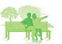 Park bench with two seniors Stock Illustration