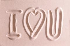I Love You drawn in golden beach sand Stock Photos