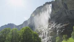 Waterfall Swiss alps Staubbach falls Switzerland Stock Footage
