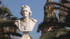 Bust of the Christopher Columbus exterior in Arica, Chile. Stock Footage