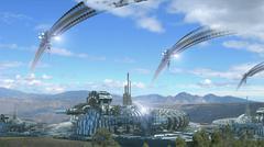 Fantasy architecture composite with scenic landscape - stock illustration