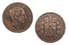 Ten Centimos Spain 1879 Stock Photos