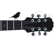 Guitar with singing bird - stock illustration