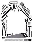 Tool in house shape Stock Illustration