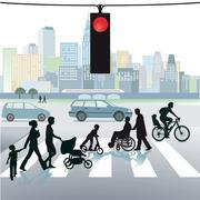 Stock Illustration of Pedestrians on crosswalks