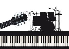 Guitar, piano and drums  Stock Illustration