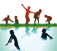 Children Bathing and play  Stock Illustration