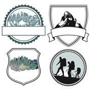 mountaineers climber symbols  - stock illustration