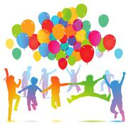 Children birthday with balloon  - stock illustration