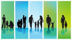 Stock Illustration of five families