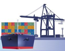 Stock Illustration of Ship with containers