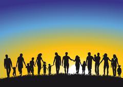 Families in Sunrise  Stock Illustration