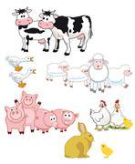 Farm animals cartoon  - stock illustration