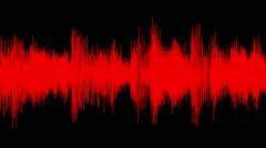 Audio waveform (equalizer - 60 seconds), red Stock Footage