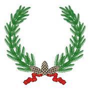 Fir wreath  Stock Illustration