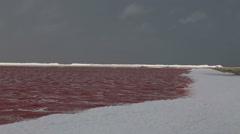 Rose caribbean salt lake Stock Footage