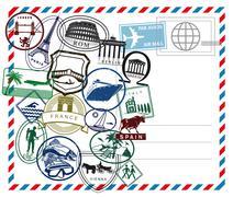 Stock Illustration of World travel airmail stamp on white ground