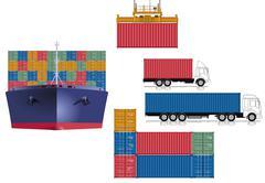 Container transport logistics - stock illustration