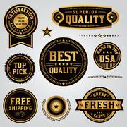 Quality Assurance Labels and Badges Set - stock illustration