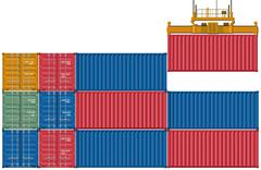 Upload and send container  Stock Illustration