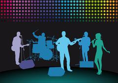 Rock Band on stage Stock Illustration