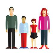 young family - stock illustration