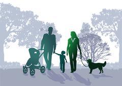 Family walk in the park - stock illustration