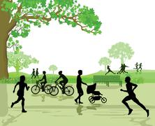 Recreation and Sports in the Park Stock Illustration